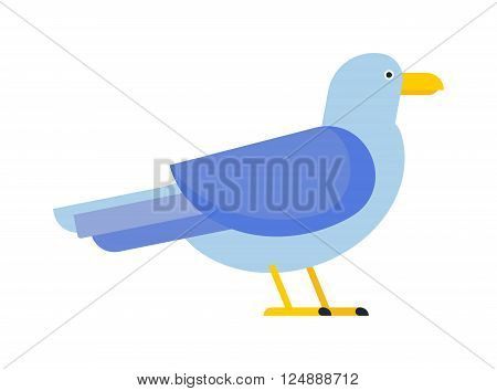 Gull flight bird and seabird gull. Natural larus gull beach free bird, wildlife seabird cartoon looking gull. Great black-backed gull larus marinus sea wildlife animal and beautiful bird flat vector.