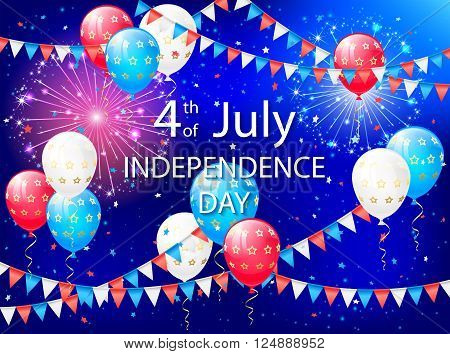 Holiday balloons, colorful pennants and fireworks on Independence day background, illustration.
