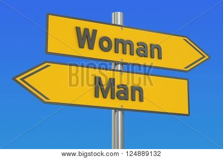man vs woman concept 3D rendering on the signpost
