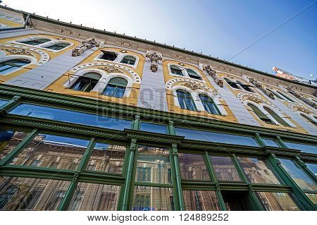Diagonal view at one old building in historic neighborhood Fabric from Timisoara Romania.