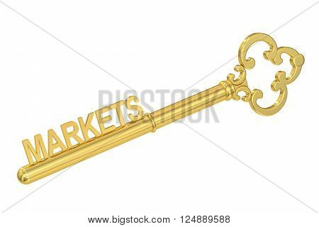 markets concept with golden key 3D rendering