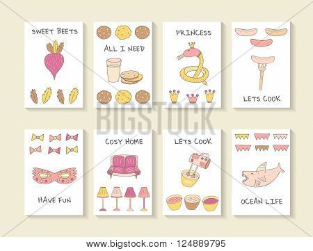 Cute hand drawn doodle baby shower cards brochures invitations with beat cookie glass of milk snake crown sausage fork mask sofa lamp mixer shark. Cartoon objects animals background