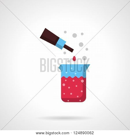 Beaker with pink liquid and pipette. Chemical laboratory. Medicine and pharmacology. Flat color style vector icon. Web design element for site, mobile and business.