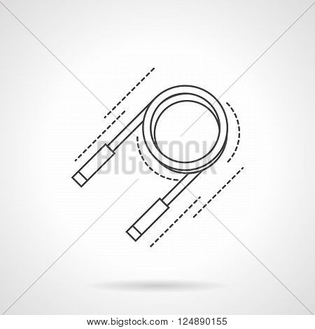 Round expander with handles. Sports and fitness equipment. Accessories for workout. Flat line style vector icon. Single design element for website, business.