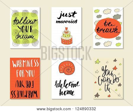 Cute hand drawn doodle postcards cards covers with different elements and quotes including be brave just married welcome home follow your dream you can do it. Printable templates set