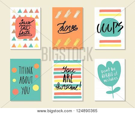 Cute hand drawn doodle postcards cards covers with different elements and quotes including love think about you you are awesome ooops save the date. Positive printable templates set