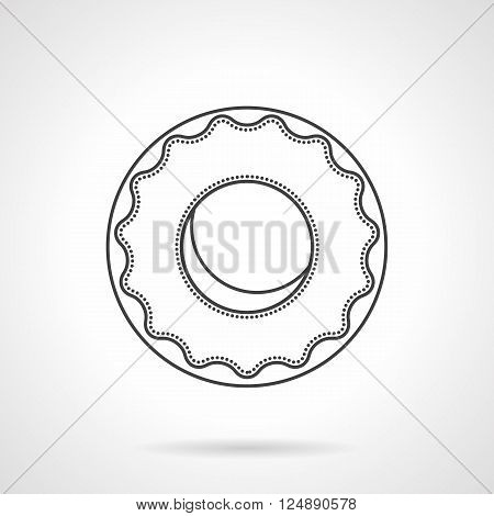 Round donut with glaze. Desserts menu for cafe. Confectionery products for grocery stores and coffee shops. Flat line style vector icon. Single design element for website, business.