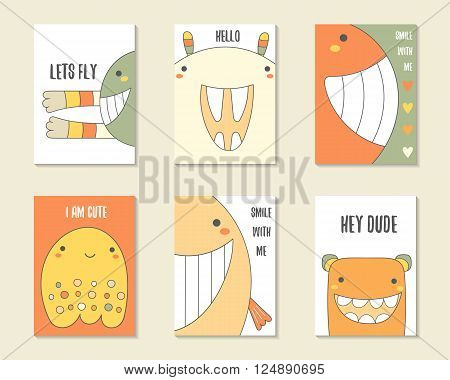 Cute hand drawn doodle birthday party cards brochures invitations with monsters funny creatures rabbit whale ghost. Cartoon characters background. Printable templates set