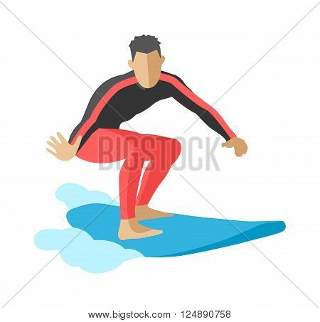 Surfing getting and summer surfing. Men on surfboard getting surfing. Extreme hobby watersports adventure active. Surfer blue ocean wave getting barreled surfing water extreme sport character vector.