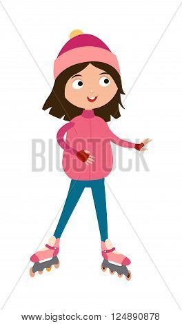 Roller beautiful girl and funny sports roller girl. Roller girl skating outdoor, funny summer childrens hobby. Cute young girl in roller pink skates, hats and gloves happy active leisure skater vector