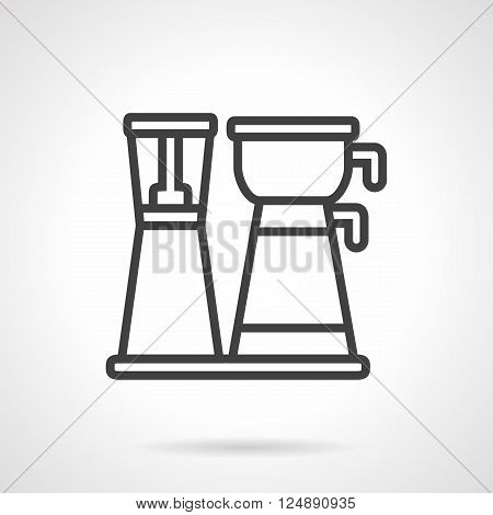Equipment for coffee making. Coffee machine with pot. Kitchen electric appliance for home and office. Commerce and trade. Simple black line vector icon. Single element for web design, mobile app.