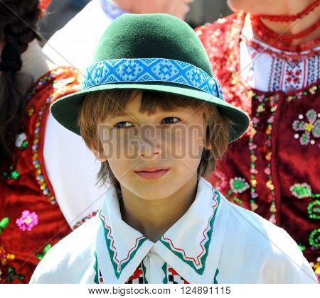 Monastyryska - Ternopil -UKRAINE - August 6 2011. In a traditional annual festival of Lemko culture ethnic Ukrainian guppy is happening in Monastyryska.