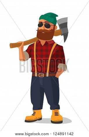Lumberjack holding an axe over his shoulder. Yellow shoes and red plaid shirt. Vector flat illustration on white background.