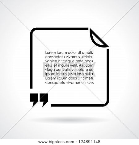 Quote citation text bubble on white background