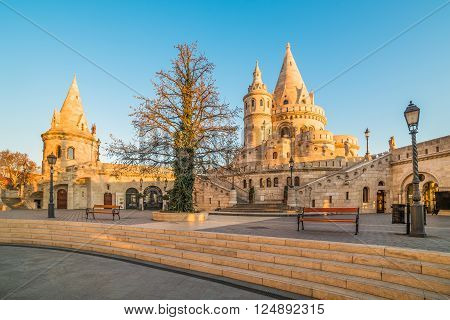 Fisherman's Bastion in Budapest Hungary at Sunrise with Clear Blue Sky