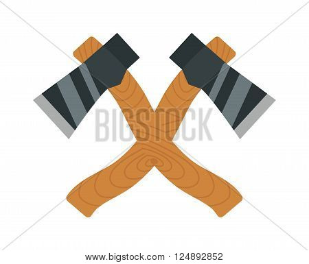Axe logo steel isolated and sharp axe cartoon weapon icon isolated on white and wooden axe cartoon flat icon of handle wood work equipment vector illustration. Lumberjack axe