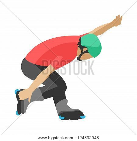Roller man tricks lifestyle and energy roller man tricks. Roller man motion fitness competition tricks. Roller man tricks in roller skates skating sport extreme activity motion vector illustration.