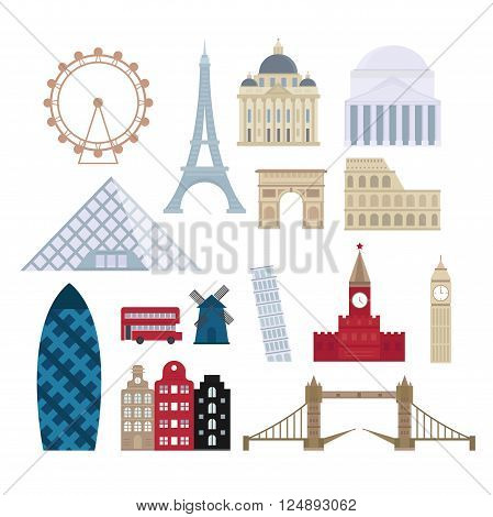 Eurotrip tourism buildings, travel famous monuments design and Euro trip adventure architecture. Travel outdoor Euro trip place vacation travelling concept. Famous buildings and famous worlds places