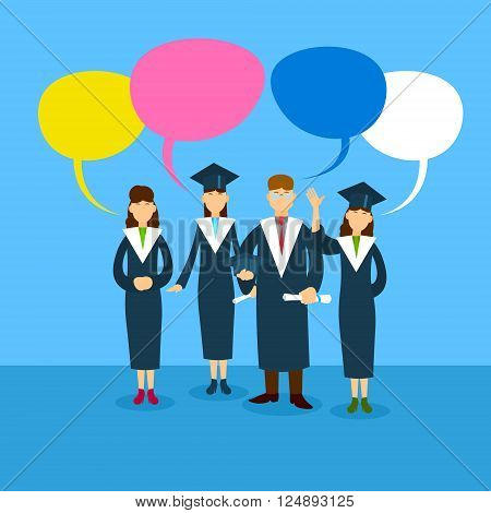 Student Group Graduation Gown With Chat Box Flat Vector Illustration