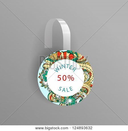 Vector wobbler mockup with transparent strip.Template for your hanging shelf tag design.Winter doodle style  sale design for print.