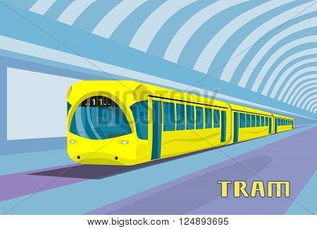 Subway Tram Modern City Public Transport Underground Rail Road Station Flat Vector Illustration