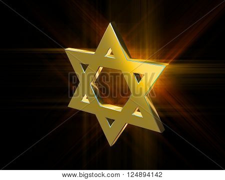 stylized image Star of David made of gold in the glow rays
