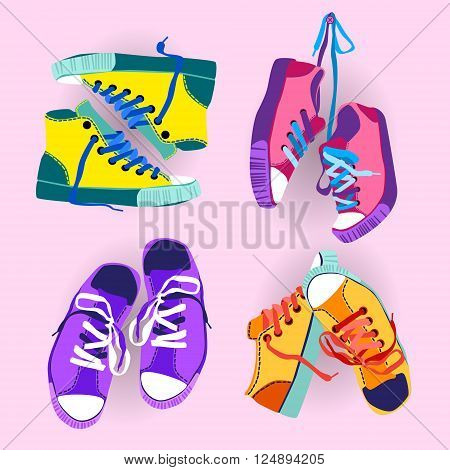 Colorful Sneakers Training Sport Shoes Set Collection Banner Flat Vector Illustration