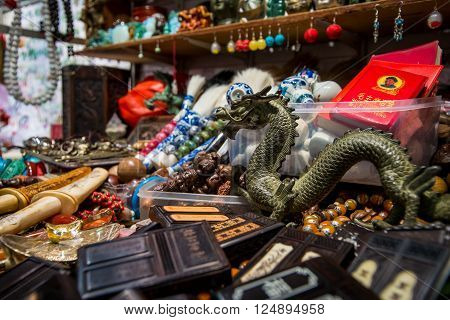 HONG KONG, CHINA - JANUARY 14: Souvenirs at the Jade market on 15 january 2014