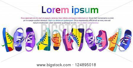Colorful Sneakers Training Sport Shoes Set Collection Banner With Copy Space Flat Vector Illustration