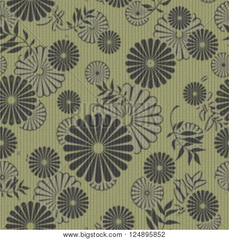 art vintage naive stylized geometric flowers colored seamless pattern, knitted background in olive green and black colors