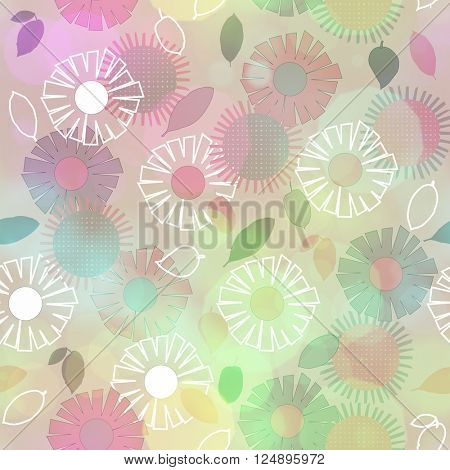 art vintage naive stylized geometric flowers seamless pattern, colored background with effect bokeh