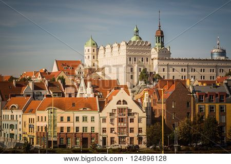 Ducal Castle, Szczecin (Poland) in the sunny day with residential buildings in old town