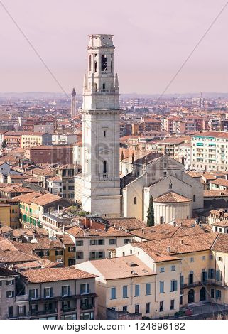 Verona Cathedral with beautiful marble belfry, Verona, Italy.