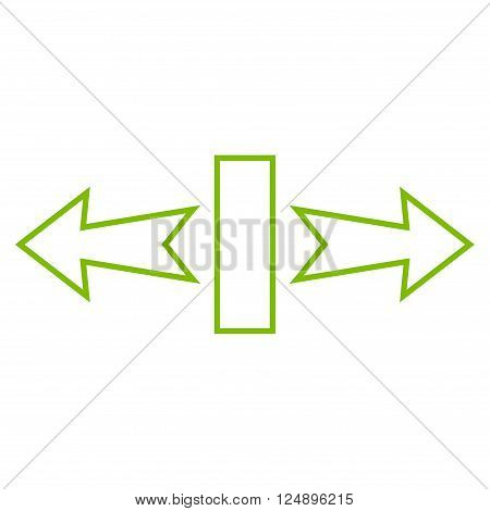 Stretch Arrows Horizontally vector icon. Style is thin line icon symbol, eco green color, white background.