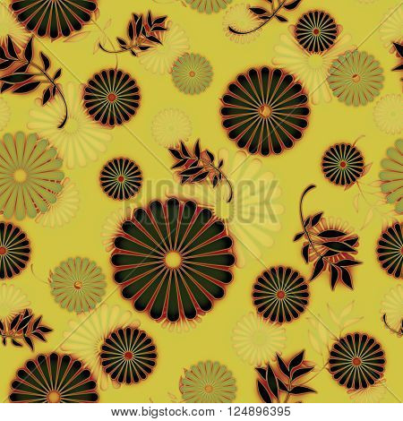 art vintage naive stylized geometric flowers colored seamless pattern, background in old gold, red and black colors