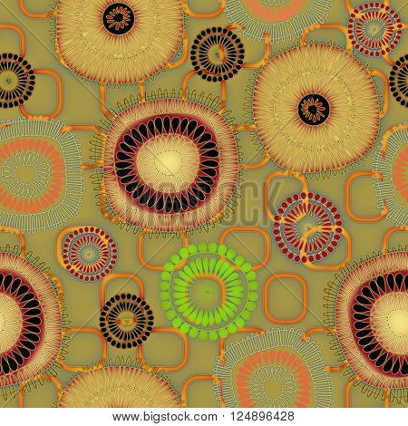 art vintage naive stylized geometric flowers colored seamless pattern, background in orange gold, red, green and black colors
