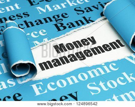 Money concept: black text Money Management under the piece of  torn paper