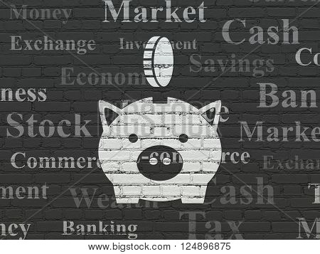 Banking concept: Money Box With Coin on wall background