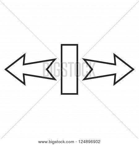 Stretch Arrows Horizontally vector icon. Style is stroke icon symbol, gray color, white background.