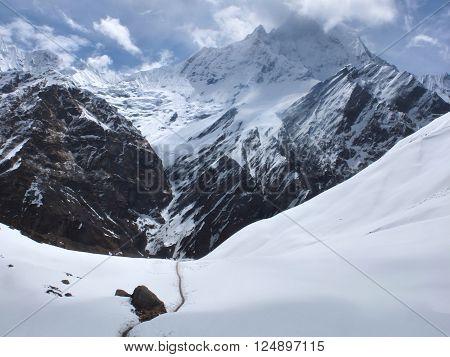 Trekking Annapurna Mountain at pokhara , nepal