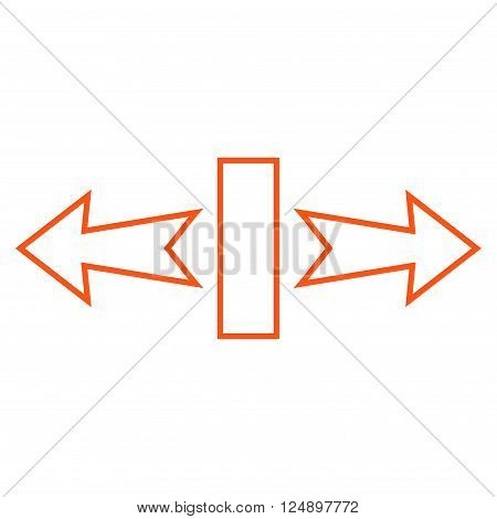 Stretch Arrows Horizontally vector icon. Style is thin line icon symbol, orange color, white background.