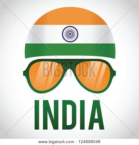 Head band and sunglasses with India insignia vector illustration