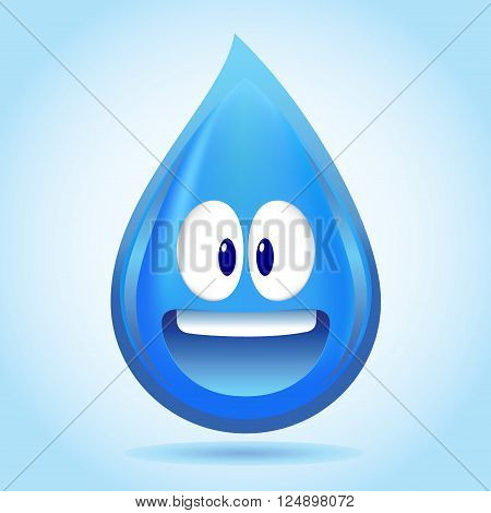 Vector stock of happy water droplet character design