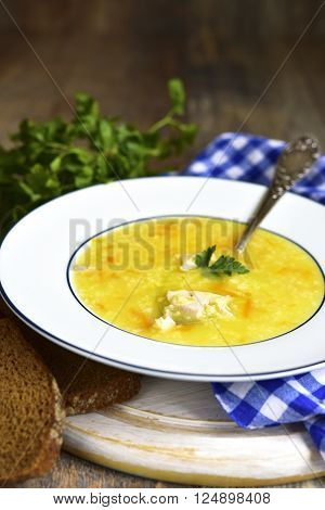 Millet Soup With Chicken And Fried Vegetable.