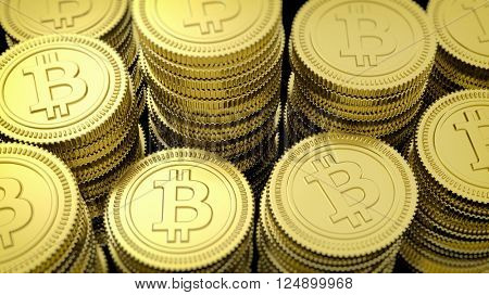 3D rendering of golden Bitcoin stacks closeup background
