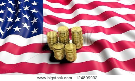 Flag of USA  with golden Bitcoin stacks. 3D rendering