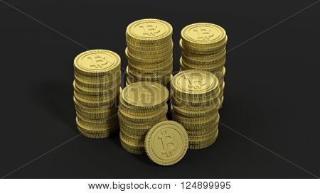 3D rendering of golden Bitcoin stacks, on black background.