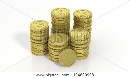 3D rendering of golden Bitcoin stacks, on white background.