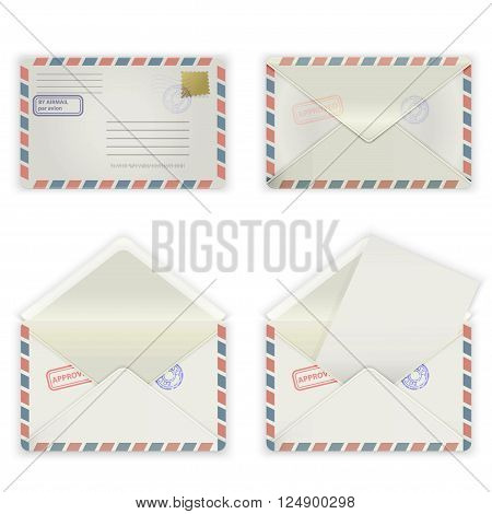 A set of four envelopes with stamps and label. The collection includes a front view rear view and open the envelope and the envelope with the letter. Vector illustration.