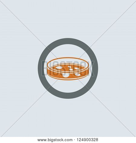 Gray-orange Petri dish with bacterium round web icon